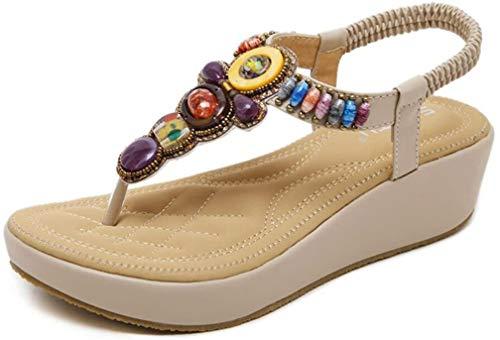 Hishoes Sandali Donna con Zeppa Moda Espadrillas Eleganti Estivi Primavera 2019 Tacco Basso Peep Toe Scarpe Spiaggia Casuale Romani Piattaforma Sandals Scarpe Donna EU34/Etichetta35