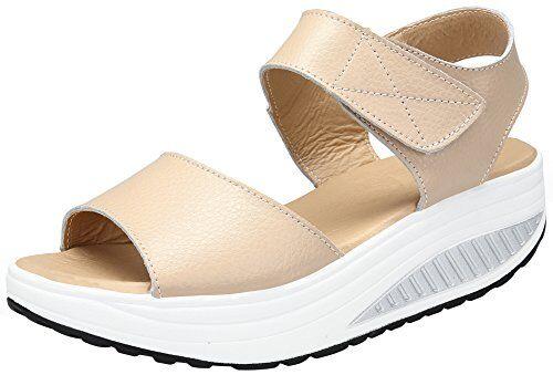 DAFENP Sandali con Zeppa Donna Estivi Comode Cuoio Platform Sandalo Eleganti Plateau Scarpe con Tacco per Camminare (41 EU, Beige)