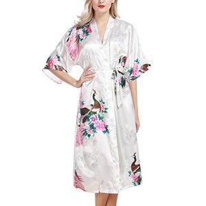 YAOMEI Donna Kimono Vestaglia Pigiama Sleepwear, di Seta Raso di Seta del Pavone e Fiori Robe Accappatoio Damigella d'Onore da Notte Pigiama, Lunga Lunghezza (L, Bianco)
