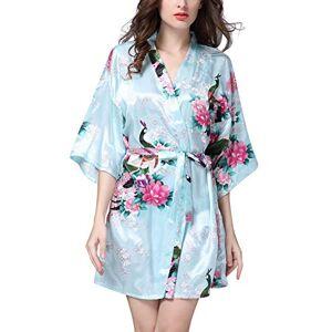 YAOMEI Donna Kimono Vestaglia Pigiama Sleepwear, di Seta Raso di Seta del Pavone e Fiori Robe Accappatoio Damigella d'Onore da Notte Pigiama, Stile Corto (Small, Azzurro)