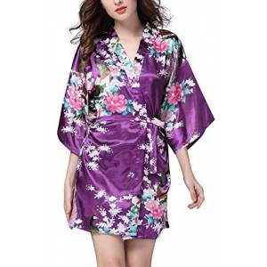 YAOMEI Donna Kimono Vestaglia Pigiama Sleepwear, di Seta Raso di Seta del Pavone e Fiori Robe Accappatoio Damigella d'Onore da Notte Pigiama, Stile Corto (Small, Viola)