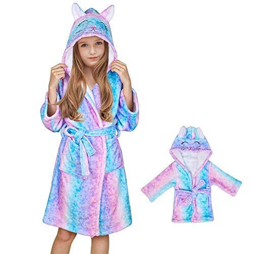 beinou - accappatoio in pile con cappuccio, in flanella, per bambini e bambole set gatto rosa e blu. 11-12 anni
