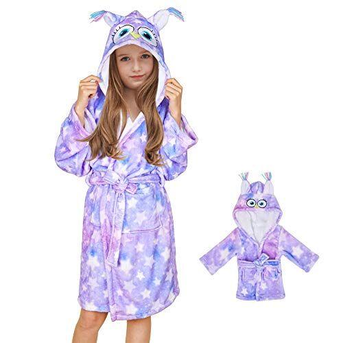 beinou - accappatoio in pile con cappuccio, in flanella, per bambini e bambole set gufo viola 11-12 anni