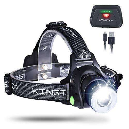 kingtop torcia frontale 2000 lumens lampada frontale con batteria al litio ricaricabile cree xm-l t6 led con 3 modalid di luminosit lampada da testa per running, camping, bici, auto, moto, sport