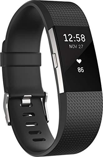 Fitbit Charge 2, Braccialetto per Fitness e Battito Cardiaco Unisex-Adulto, Nero, Small