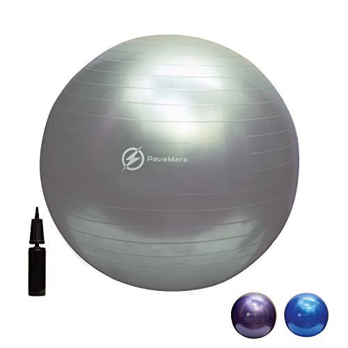 pavamara fitball 55/65/75cm - palla fitness pilates- palla da ginnastica in palestra casa - fisioterapia schiena (grigio, 65 cm)