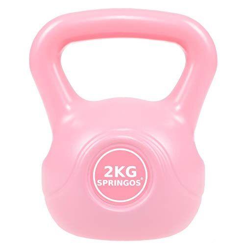 springos - kettlebell da donna, bilanciere da 2 kg a 10 kg, in abs, peso rotondo, attrezzo sportivo per sollevamento pesi, fitness, allenamento muscolare e allenamento completo del corpo, rosa 2 kg.