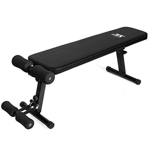 jx fitness panca per allenamento panca pesi panca palestra pieghevole panche per addominali, piedini in gomma antiscivolo, panca piatta per allenamento con bilanciere sit up
