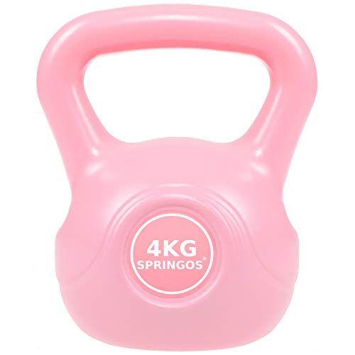 springos kettlebell da donna, bilanciere da 2 kg a 10 kg, abs, bilanciere rotondo, attrezzo sportivo, sollevamento pesi, fitness, allenamento muscolare, allenamento di tutto il corpo (rosa 4 kg)