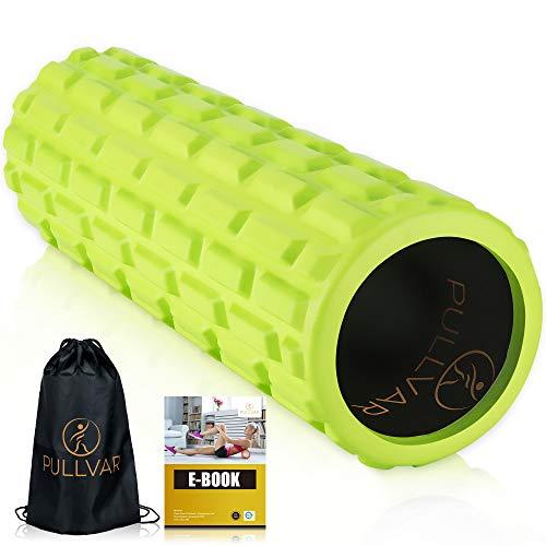pullvar foam roller pilates attrezzi rullo massaggio muscolare in schiuma verde densit media tubo rinforzato in abs ultraresistente con manuale pdf attrezzi palestra casa massaggiatore muscolare schiena