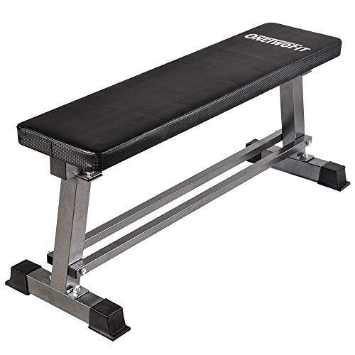 onetwofit panca piatta per allenamento pesi, panca per sollevamento pesi e allenamento addominali con organizzatore di manubri, capacit 300kg ot070