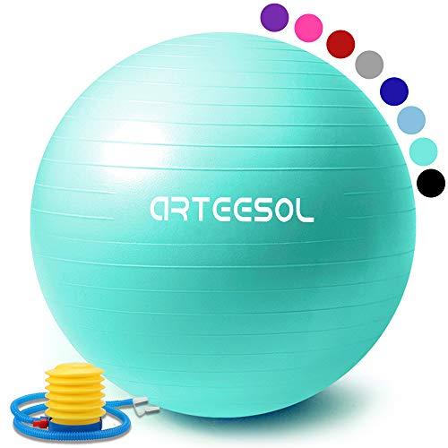 arteesol palla fitness, arteesol palla pilates fitball anti-scoppio 45cm/55cm/65cm/75cm/85cm palla da ginnastica con pompa rapida per fitness yoga e pilates (75 cm, oceano blu)