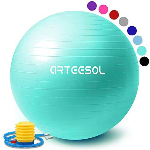 arteesol palla fitness, arteesol palla pilates fitball anti-scoppio 45cm/55cm/65cm/75cm/85cm palla da ginnastica con pompa rapida per fitness yoga e pilates (55cm, oceano blu)