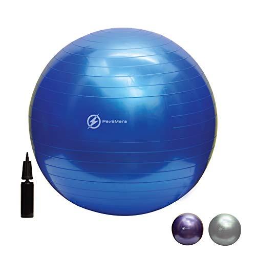 pavamara fitball 55/65/75cm - palla fitness pilates- palla da ginnastica in palestra casa - fisioterapia schiena (blu, 75 cm)