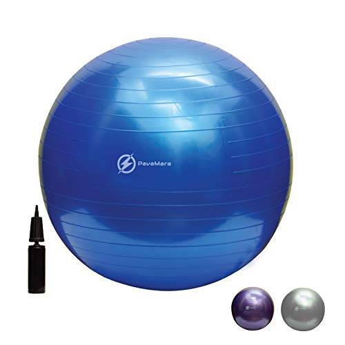 pavamara fitball 55/65/75cm - palla fitness pilates- palla da ginnastica in palestra casa - fisioterapia schiena (blu, 65 cm)