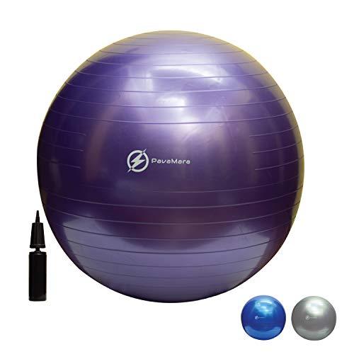 pavamara fitball 55/65/75cm - palla fitness pilates- palla da ginnastica in palestra casa - fisioterapia schiena (viola, 65 cm)