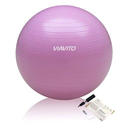 viavito - fitball anti-scoppio con pompa, diametro: 55 cm, resistenza: 200kg, colore:rosa