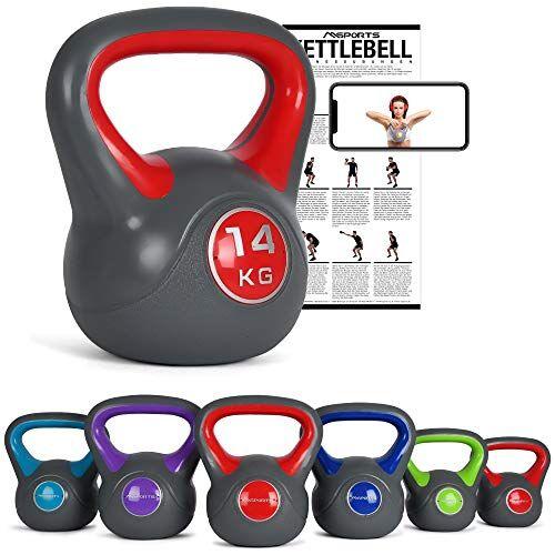 msports kettlebell 2  20 kg con poster di esercizi (14 kg  rosso)