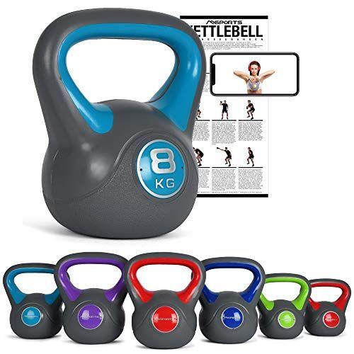 msports kettlebell 2  20 kg con poster di esercizi (8 kg  blu)