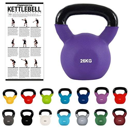msports kettlebell professionale 2 - 30 kg   ghisa revestimento in neoprene   incl. workout pdf   diversi colori (kettlebell professionale 26 kg   ghisa revestimento in neoprene   incl. workout pdf   porpora)