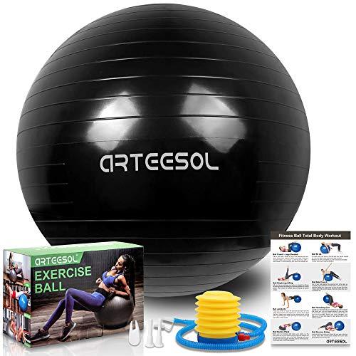 arteesol palla fitness, arteesol palla pilates fitball anti-scoppio 45cm/55cm/65cm/75cm/85cm palla da ginnastica con pompa rapida per fitness yoga e pilates (55cm, inchiostro nero)