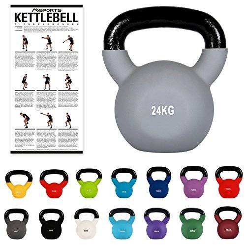 msports kettlebell professionale 2 - 30 kg   ghisa revestimento in neoprene   incl. workout pdf   diversi colori (kettlebell professionale 24 kg   ghisa revestimento in neoprene   incl. workout pdf   grigio)