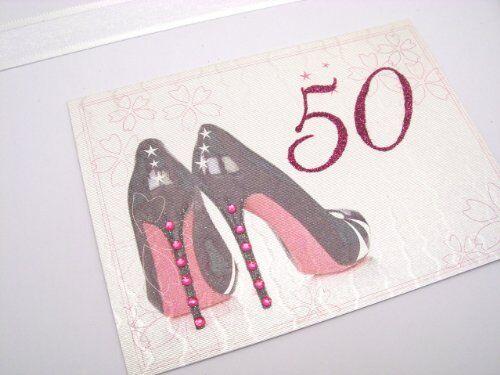 White Cotton Cards - Scatola per souvenir del 18 compleanno, formato grande, motivo: scarpe décolleté nere