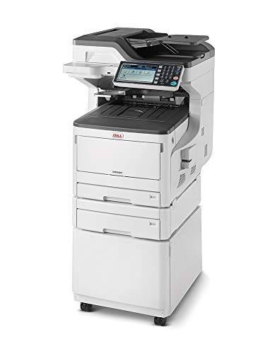 Oki Stampante Multifunzione 4 in 1, a colori, A3, fronte/retro, 23 pagine al minuto, con mobiletto, 2° cassetto e software gestione documentale