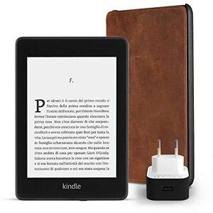 Amazon Kit essenziale Kindle Paperwhite, include un e-reader Kindle Paperwhite, 8 GB, Wi-Fi, con offerte speciali, una custodia  in pelle di prima qualit e un caricabatteria  Powerfast