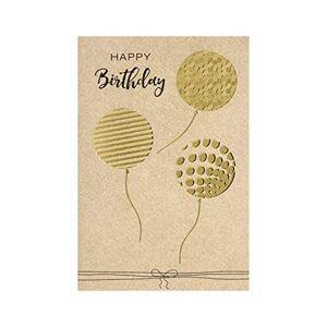 bsb - Biglietto di auguri di compleanno con palloncini, busta dorata