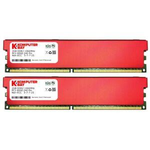 Komputerbay - Modulo di memoria RAM desktop DIMM DDR2 da 4 GB (2 moduli da 2 GB) a 240 pin PC2-8500 1066 MHz con dissipatori di calore, colore: Rosso