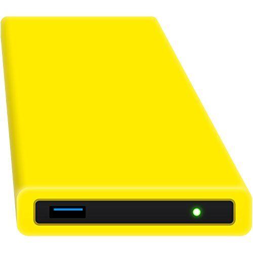hipdisk, hard disk esterno da 63,5 mm, usb 3.0in alluminio con cover in silicone per sata hdd e ssd antiurtb idrorepellente gelb 500 gb ssd