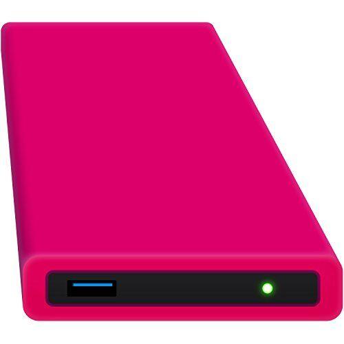 hipdisk, hard disk esterno da 63,5 mm, usb 3.0in alluminio con cover in silicone per sata hdd e ssd antiurtb idrorepellente rosa pink 500 gb ssd