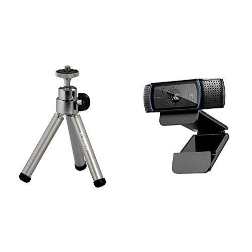 Logitech C920 HD Pro Webcam, Videochiamate e Registrazione Full HD 1080p con 2 Microfoni con Audio S + Cullmann Alpha 15 Mini Treppiede, Grigio