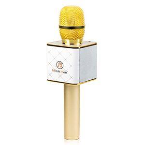 Technaxx BT-X31, Microfono Karaoke bluetooth con porta USB, bianco/oro