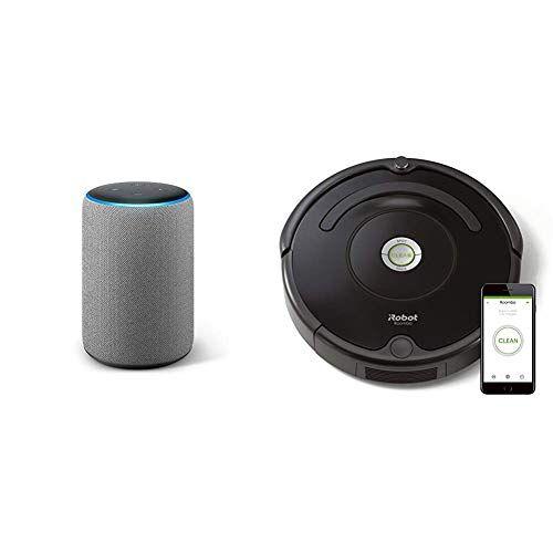 amazon echo plustessuto grigio scuro + irobot roomba 671 robot aspirapolvere, sistema di pulizia ad alte prestazioni con dirt detect, adatto a pavimenti e tappeti, ottimo per i peli degli animali domestici, con connessione wi-fi, nero