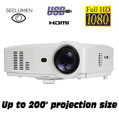 Seelumen Proiettore Full HD 1080P, , 2018nuovo modello proiettori 3200lumen portatile proiettori led, lcd 1920x 1080max, 5000: 1contrasto, 2HDMI, VGA, 2USB, per Ps4, Xbox One, Nintendo Switch, PC, Blu-ray, Bianco)