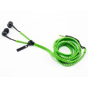 Zip Earphones - Auricolari con cavo a cerniera, con 2 inserti auricolari in silicone, colore verde