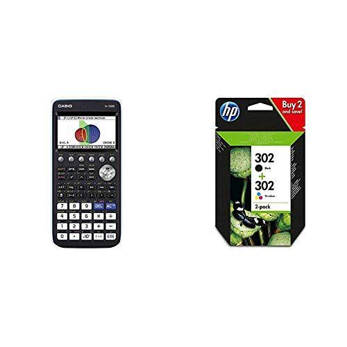 Casio FX-CG50 Calcolatrice Grafica senza CAS con Display a 65.000 Colori & HP 302 Combo Pack X4D37AE Cartucce Originali Nero e Tricromia per Stampanti HP a Getto di Inchiostro