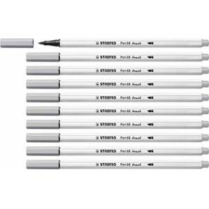 Stabilo Pennarello Premium con punta a pennello per linee spesse e sottili - STABILO Pen 68 brush - Confezione da 10 - Grigio Freddo Medio