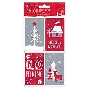 Giftmaker Collection Confezione da 20 etichette regalo in carta kraft coordinata.