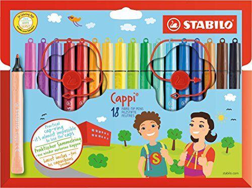 stabilo pennarello con cordino porta cappuccio - stabilo cappi - astuccio da 18 - colori assortiti