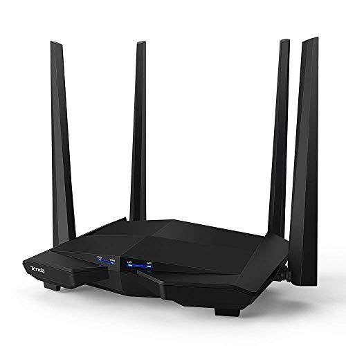 Tenda AC10 Gigabit Wireless AC1200 WiFi Router (Dual Band 5 GHz, 867 Mbps, 2.4 GHz, 300 Mbps, 4 Antenne 5 dBi, Chip Broadcom da 1 GHz, Memoria DDR3, Beamforming +, Applicazione di controllo)