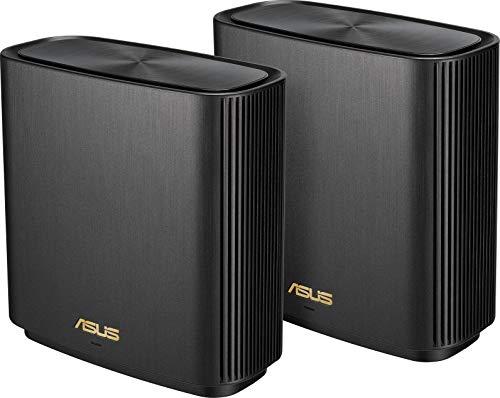Asus zenwifi sistema Wi-Fi 6 tri-band ax6600 whole-home, copertura fino a 410 m/6+ camere, 6.6 gbps wi-fi, 3 ssid, sicurezza della rete, controllo genitori incluso a vita, porta 2.5g, 2 pezzi, nero.