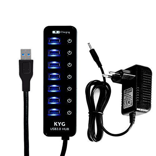KYG USB Hub 7+1 Porte Interruttori Indipendenti con Alimentatore 5V LED Blu USB 3.0 Sdoppiatore Per PC Laptop Computer Nero