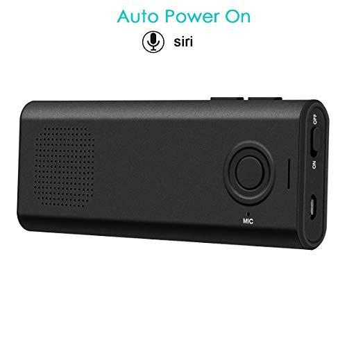 SAWAKE Kit visiera vivavoce, telecomando vocale compatibile con Siri, accensione automatica degli altoparlanti, altoparlante vivavoce per auto, musica di supporto, chiamate, GPS