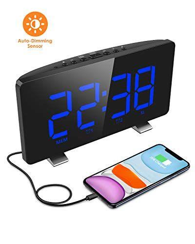 ELEGIANT Radiosveglia, Orologio da Comodino Digitale 6,5'' Gran Schermo FM Radio Doppi Sveglia Funzione Snooze USB Porta per Carica iPhone 11 PRO XS XR Huawei Mate 30 P30 20 PRO Samsung S10 S9 ECC
