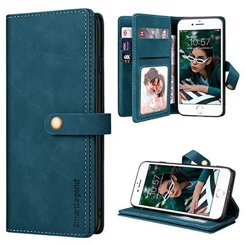 SmartLegend per Cover iPhone SE 2020 Pelle Premium con 8 Porta Carte, Custodia iPhone 8/ iPhone 7 Portafoglio Cover Libro iPhone 7/8/SE 2020 Magnetica Flip Silicone Bumper - Blu-Verde