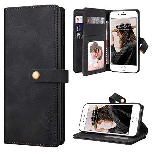 SmartLegend per Cover iPhone SE 2020 Pelle Premium con 8 Porta Carte, Custodia iPhone 8/ iPhone 7 Portafoglio Cover Libro iPhone 7/8/SE 2020 Magnetica Flip Silicone Bumper - Nero