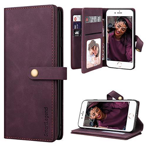 SmartLegend per Cover iPhone SE 2020 Pelle Premium con 8 Porta Carte, Custodia iPhone 8/ iPhone 7 Portafoglio Cover Libro iPhone 7/8/SE 2020 Magnetica Flip Silicone Bumper - Vino Rosso